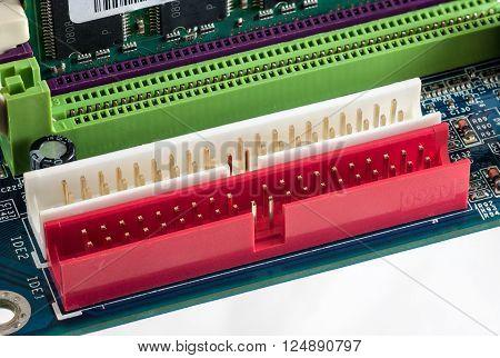 Motherboard - IDE Slots electric socket closeup macro
