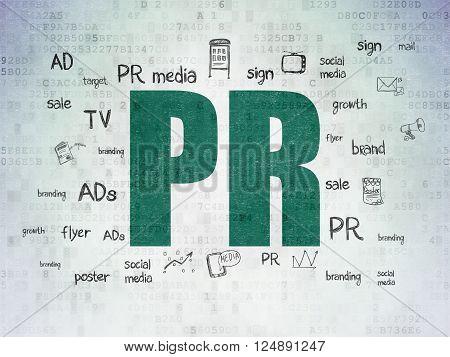 Marketing concept: PR on Digital Paper background