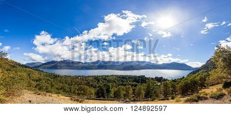A panorama of a lake in Neuquen, Patagonia Argentina