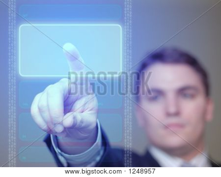 Businessman Pushing Glowing, Blue Button On Translucent Screen.