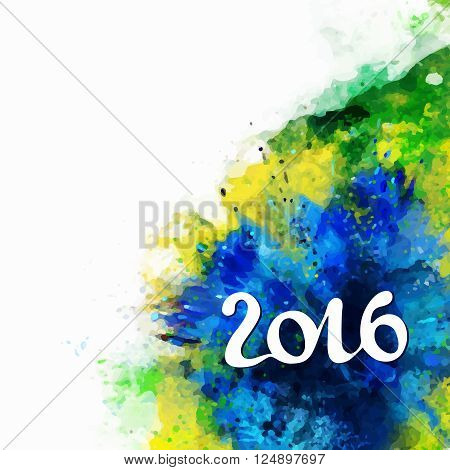 Signs, symbols inscription 2016 on a background watercolor stains, blue, green colors of the Brazilian flag, Brazil Carnival,watercolor paints