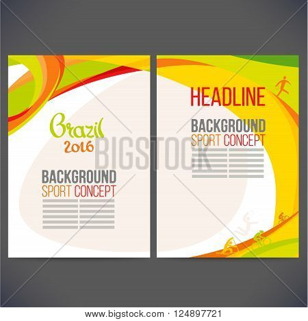 Vector template design strips of colored rings and waves.Concept sport brochure