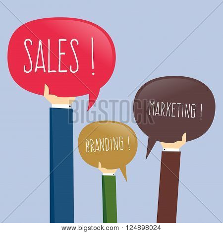 Vector stock of businessman hand holding sales branding marketing icon speech bubble sign