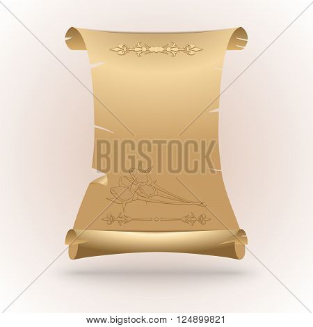 Congratulatory scroll of paper with a flower pattern on a white background. Vector illustration.
