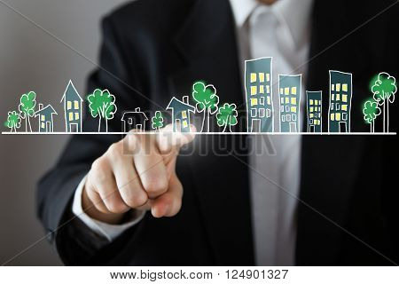 Businessman choosing house, real estate concept. Hand pressing the house icon. Copy space. Scetch street