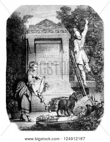 On drawing money after J Seve painting of the eighteenth century, vintage engraved illustration. Magasin Pittoresque 1861.