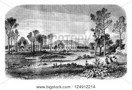 View of Zoological Gardens in the Bois de Boulogne, Paris, vintage engraved illustration. Magasin Pittoresque 1861.