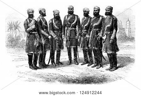 Seven officers of the irregular cavalry of Punjab, vintage engraved illustration. Magasin Pittoresque 1857.