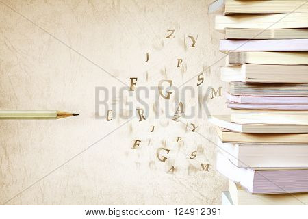 Close up the book stacked with the pencil and alphabet letter flying vintage color tone