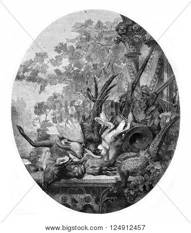 Painting Exhibition of 1857, Still Life by Leon Rousseau, vintage engraved illustration. Magasin Pittoresque 1857.