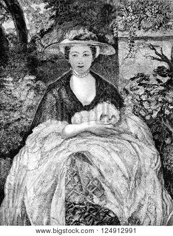 A portrait by Reynolds, vintage engraved illustration. Magasin Pittoresque 1857.
