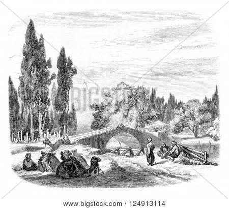 The Bridge of Caravans, Smyrna, vintage engraved illustration. Magasin Pittoresque 1857.