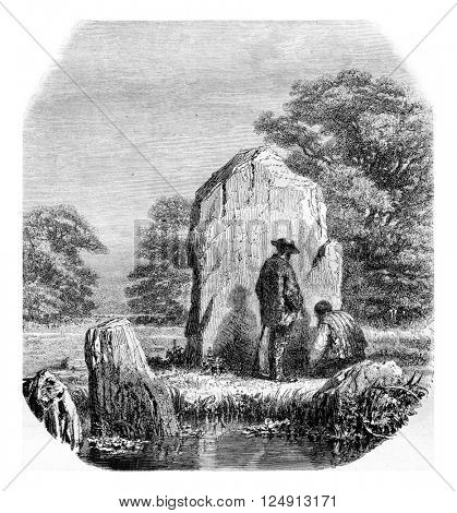 The Growing Stone, vintage engraved illustration. Magasin Pittoresque 1857.