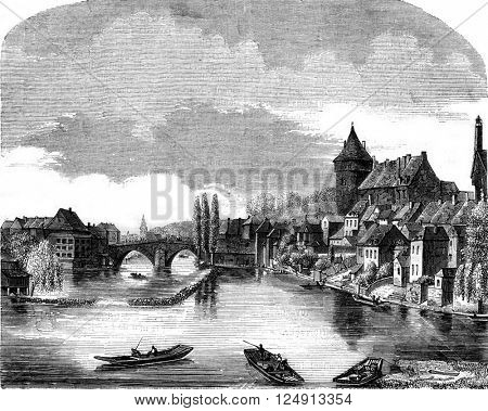 View of Laval, head of the department of Mayenne, vintage engraved illustration. Magasin Pittoresque 1847.