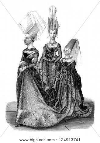Fifteenth century, Costumes in the reign of Charles VII, Princess with her Ladies of Honour, vintage engraved illustration. Magasin Pittoresque 1847.