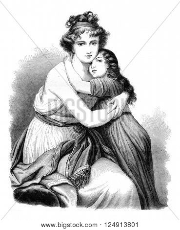 Louvre, Portraits by Madame Lebrun, vintage engraved illustration. Magasin Pittoresque 1847.