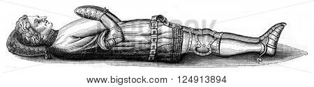 Funerary statue of the Constable Olivier de Clisson, Josselin, Morbihan, vintage engraved illustration. Magasin Pittoresque 1847.