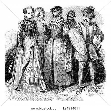 Quality lady, Rich merchant, Gentleman, vintage engraved illustration. Colorful History of England, 1837.