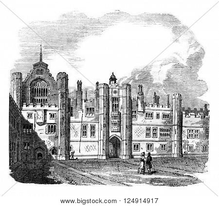 Seventh Palace Homptoncourt raised by Wolsey, vintage engraved illustration. Colorful History of England, 1837.