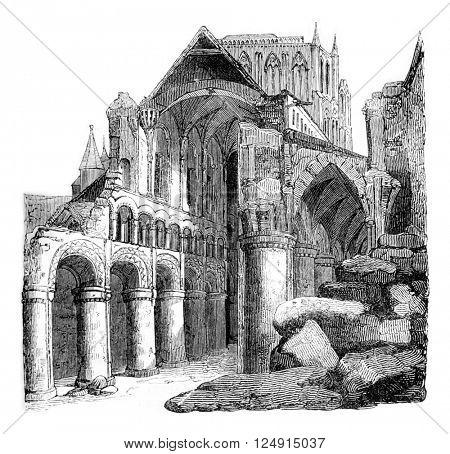 Ruins of Hereford Cathedral, built under John Lackland, vintage engraved illustration. Colorful History of England, 1837.