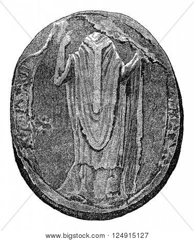 Seal of Thomas Becket, vintage engraved illustration. Colorful History of England, 1837.