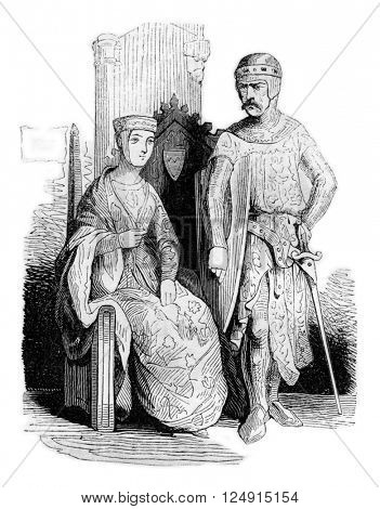 Costumes beginning of the reign of John, vintage engraved illustration. Colorful History of England, 1837.