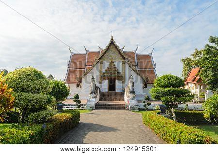 Wat phumin famous lanna style temple at nan province thailand