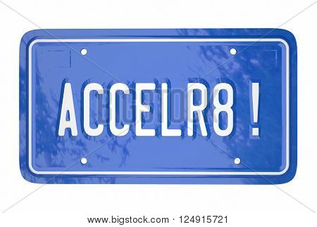 Accelerate Drive Fast Speed Racing Car License Plate Word