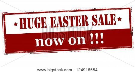 Rubber stamp with text huge Easter sale now on inside vector illustration
