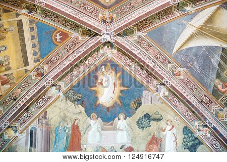 Florence, Italy-June 2, 2015. Interior detail of the Basilica of Santa Maria Novella, situated just across from the main railway station which shares its name. Chronologically, it is the first great basilica in Florence