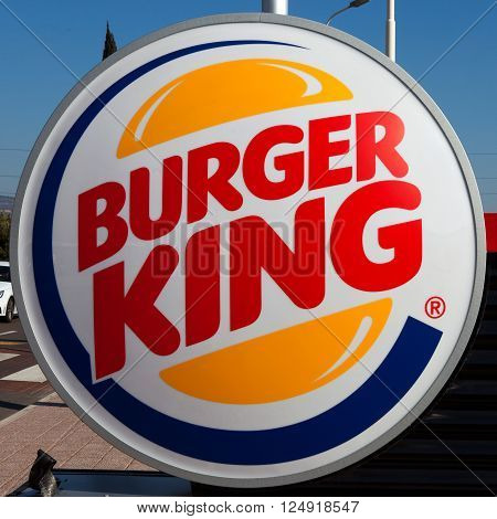 Rome, Italy - March 18, 2016: Burger King restuarant sign, Burger King is an American global chain of hamburger fast food restaurants headquartered in Florida, United States.