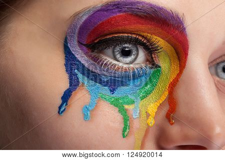 Make up from color rainbow crying on the eye. Fashion on stage make up. Beauty extreme make up. Close up photo