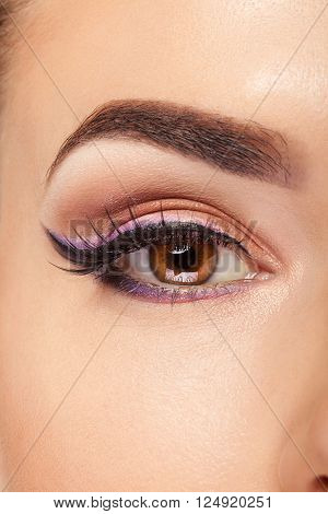 Eye With Make Up And Long Eyelashes In Close Up Photo