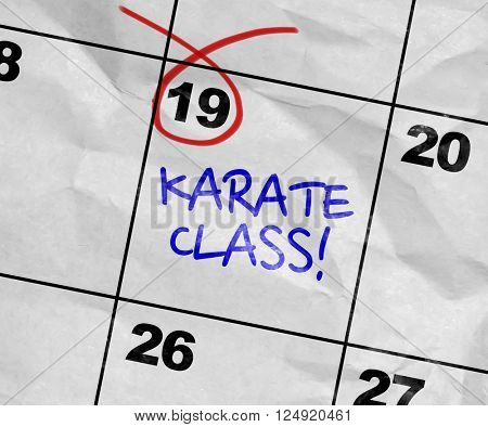 Concept image of a Calendar with the text: Karate Class