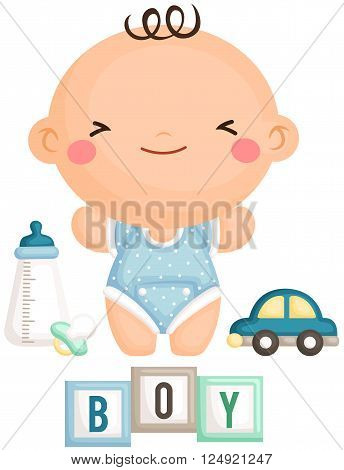 A vector of baby boy and his toys