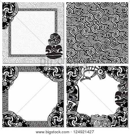 seamless texture, and three picture frames in the style of the Maori