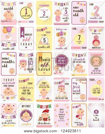 A vector set of cute baby girl milestone cards