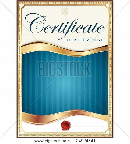 Blue And Gold Certificate Template.eps