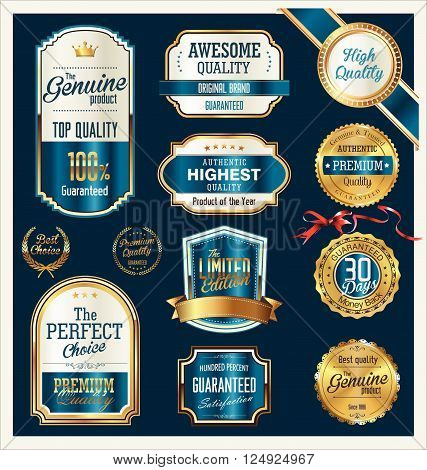 Quality Gold And Blue Retro Badges Collection.eps