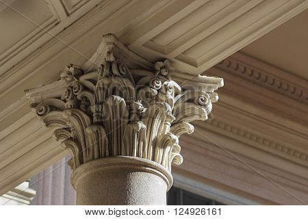 neo-classical column capital relief detail Novara Italy