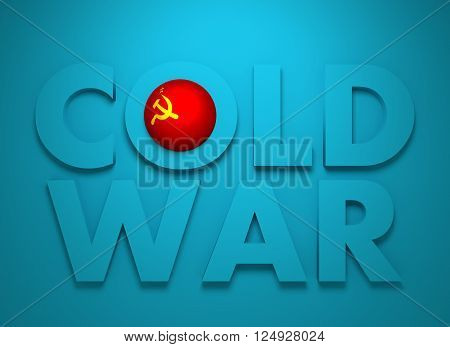 Soviet Union confrontation United States America concept Cold War. 3D rendering. Blue text