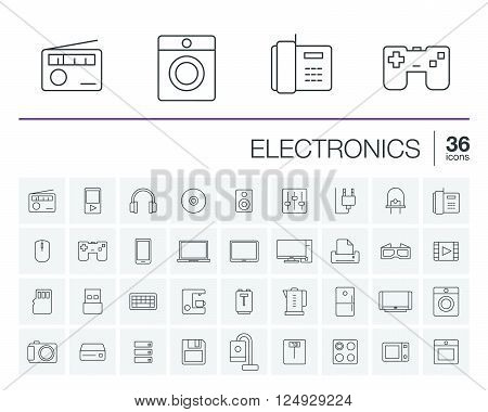 Vector thin line icons set and graphic design elements. Illustration with electronics, multimedia and technology outline symbols. Music, film, phones, joystick, video, kitchen gadgets linear pictogram