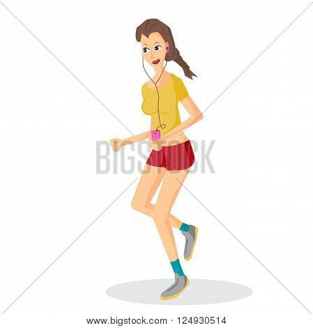 Vector modern flat design woman wearing headphones listening music. Cartoon character of music lover enjoying his favorite track. Music lover woman listening to music and playing sports, jogging run