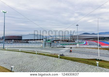 Sochi, Russia - February 5, 2016: Sochi Park. Ice Cube Curling Center, Adler-Arena and Fragment race track of Formula One