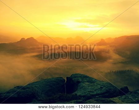 Fantastic dreamy sunrise on top of rocky mountain with view into misty valley.Mountain view.Foggy mountain.Dreamy forrest. Sunrise clouds. Forest hill.Autumn mist.Misty peaks.Foggy landscape. Rock top poster