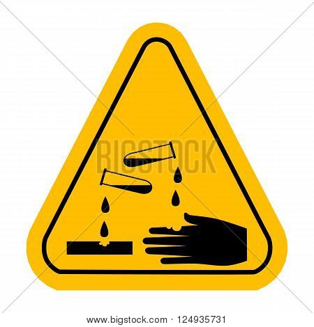 Corrosive  sign. Vector yellow triangle warning icon.
