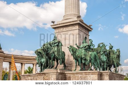 Detail of the monument on the Heroes square in Budapest, Hungary.