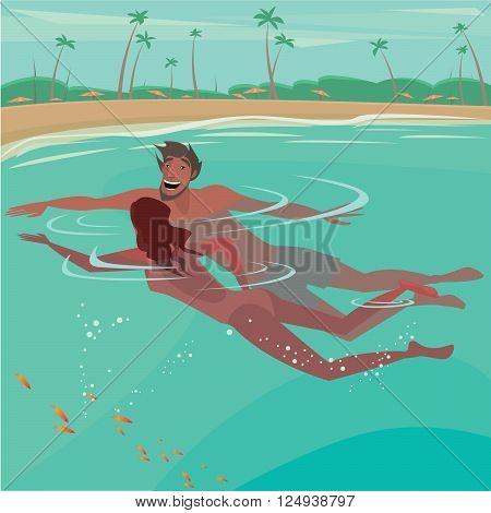 Happy couple swimming in the sea near the beach - Honeymoon or vacation concept