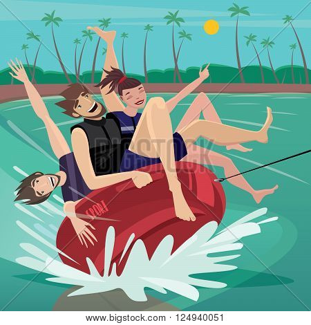 Friends laughing riding on tube at the sea - Recreation or water tubing concept