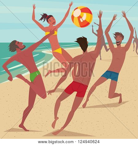 Several happy young men and woman on the beach playing with the ball - Leisure or activity concept